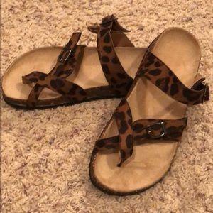 Shoes - Birk Style Leopard Sandals